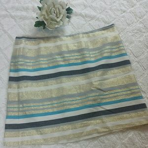 NWOT Loft  Sparkly Gold and Blue Striped Skirt